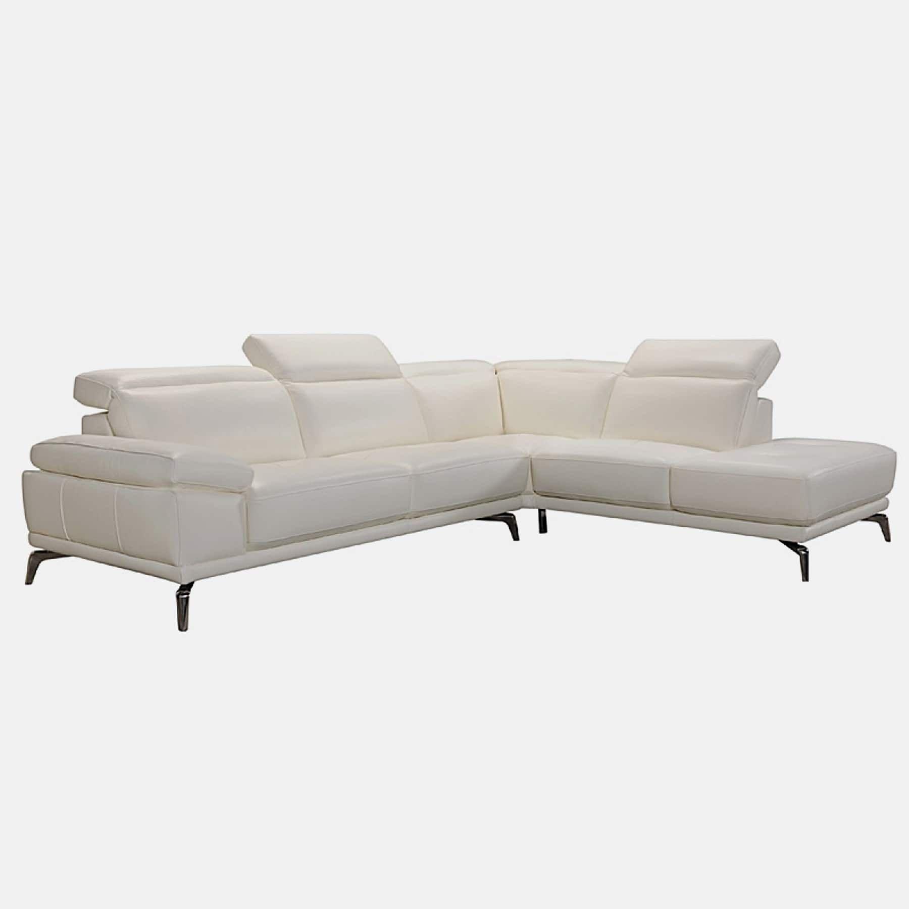 Rallye modern white leather lshaped sofa white leather modern