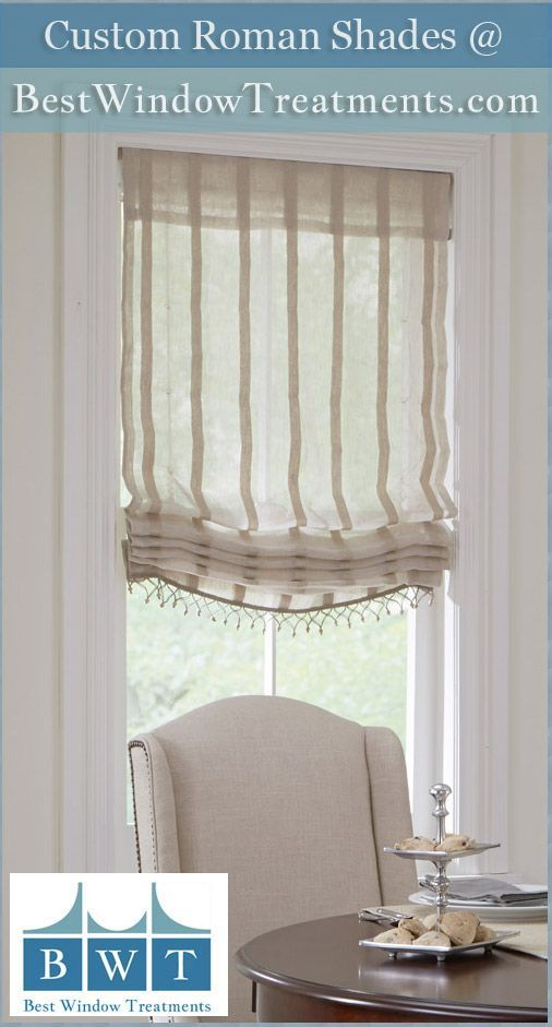 Custom Fabric Roman Shades With Free Upgrade To Cordless