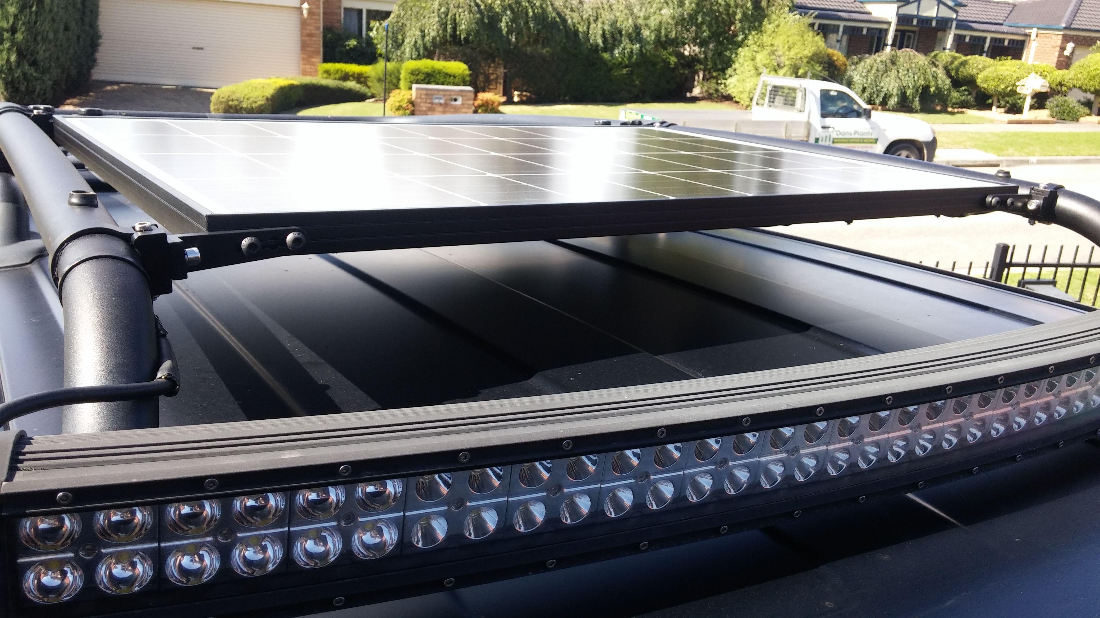 Fj Cruiser Solar Panel Added To Stock Roof Rack With Led Light Bar Mounts Led Light Bar Mounts Bar Lighting Led Lights