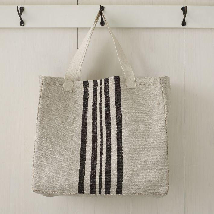West Elm Blue Striped Canvas Tote Bag