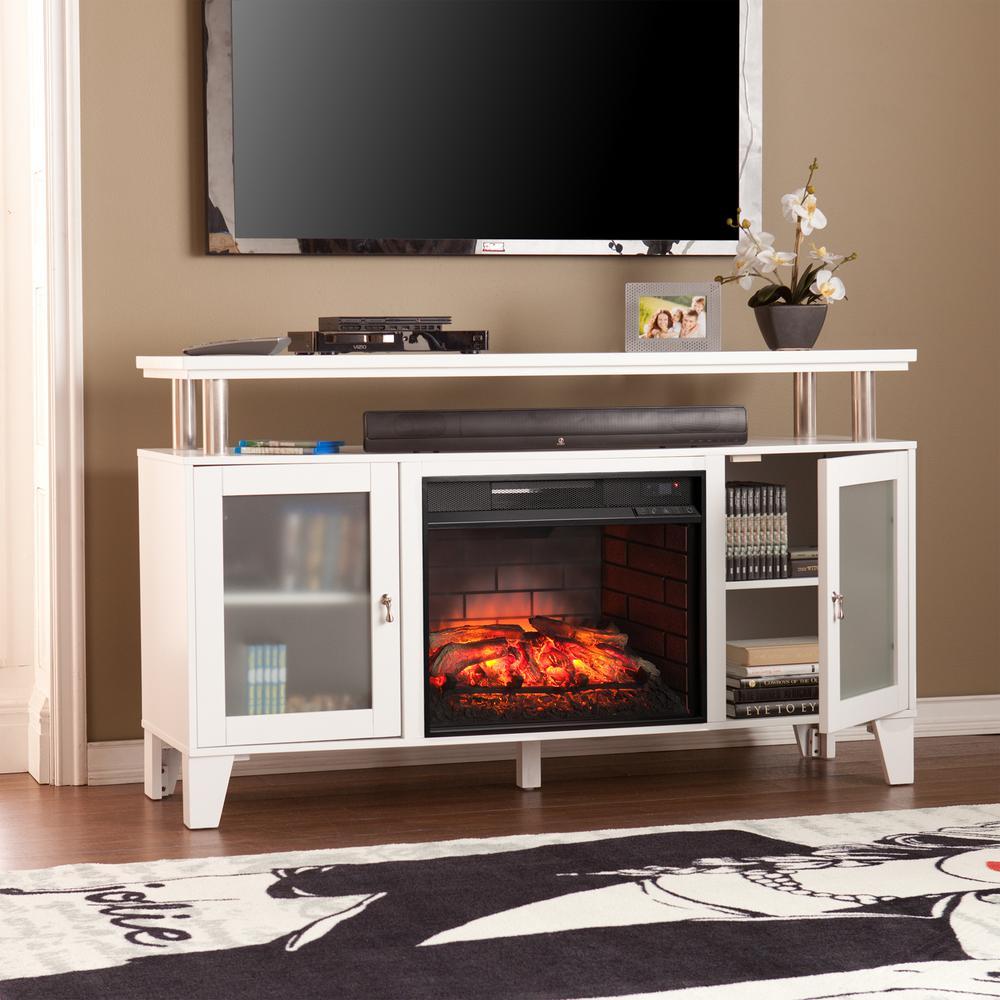 Sei Fulton 60 In W Infrared Media Electric Fireplace In White