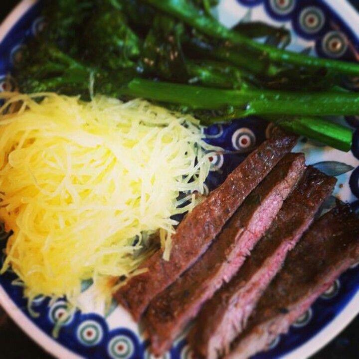 Spaghetti squash,  flank steak,  broccoli