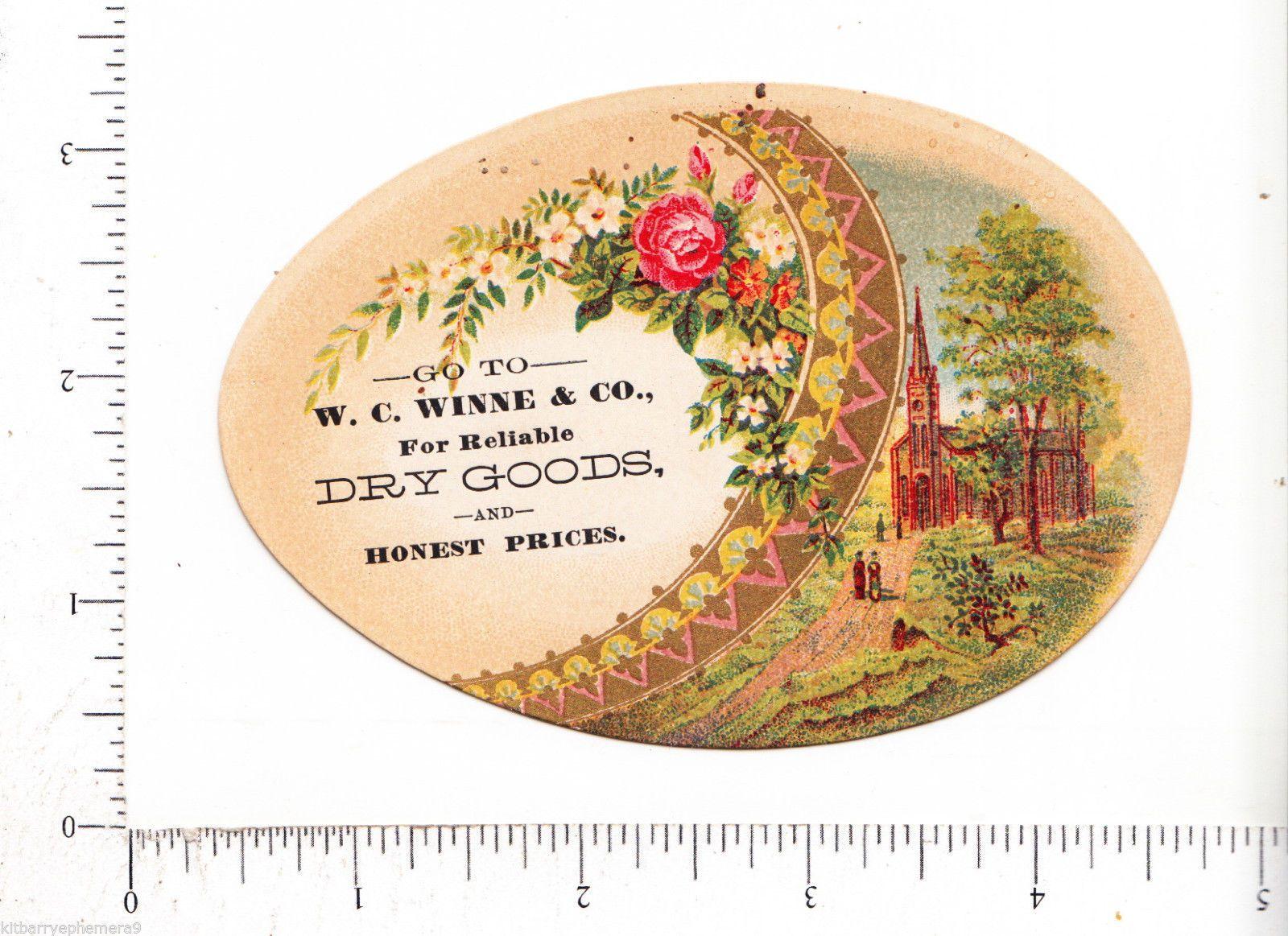 7168 w C Winne Die Cut Decorated Egg Advertising Trade Card Troy NY Dry Goods | eBay