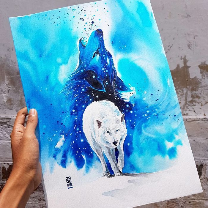 I Create Animal Spirits Trough Watercolor Loup Aquarelle Dessin