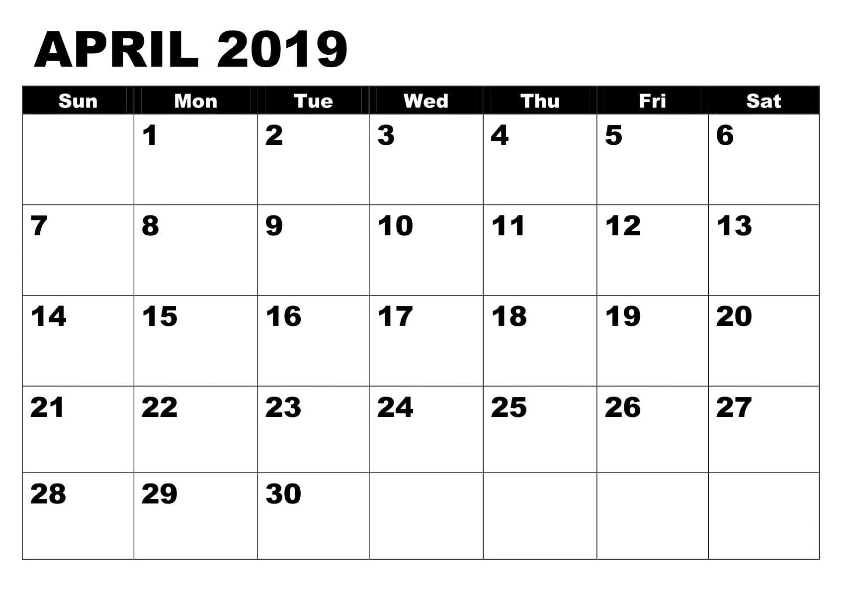 Printable Calendar April 2019 Cute Calendar Template 2020