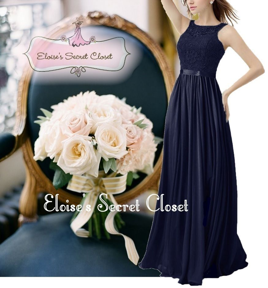 Bnwt tula navy blue lace chiffon maxi bridesmaid ballgown dress