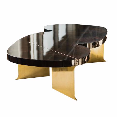 Table Basse Icarus Ebene I The Invisible Collection Laiton Poli Gants Blancs Laiton