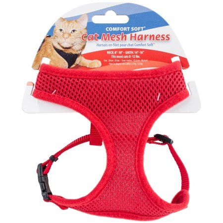 Comfort Soft Adjustable Mesh Cat Harness Red Cat Harness Cat