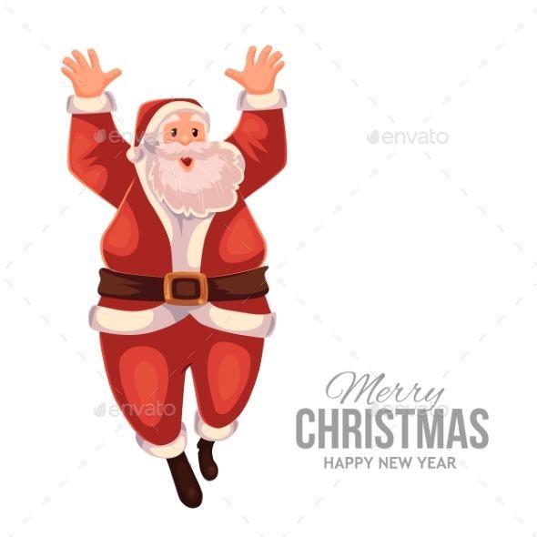Greeting Card With Cartoon Santa Claus Jumping Greeting card - greeting card template