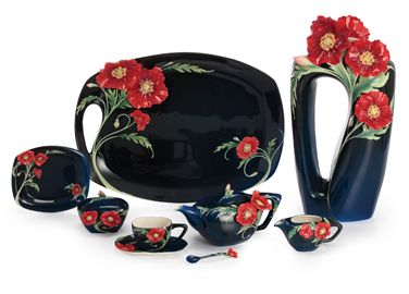 Franz Porcelain Collection Serenity Poppy Flowers Collection