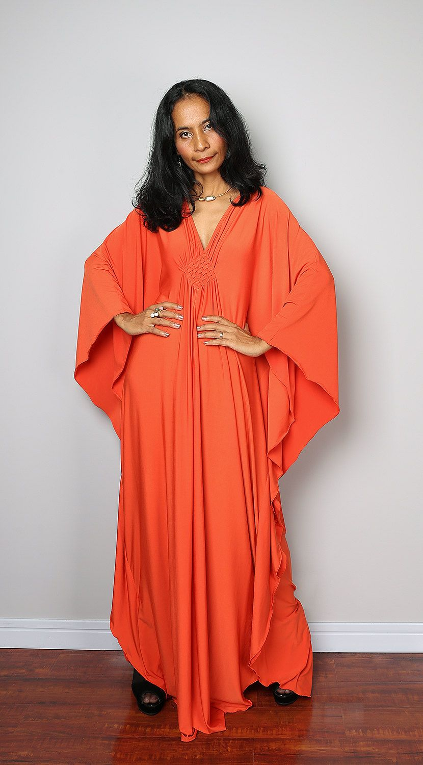 Orange maxi dress kaftan kimono butterfly dress funky kaftans