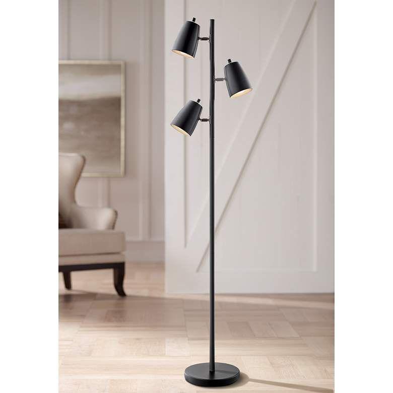 Lite Source Ronnie Black 3 Light Tree Floor Lamp 42g07 Lamps Plus In 2020 Black Floor Lamp Floor Lamp Tree Floor Lamp