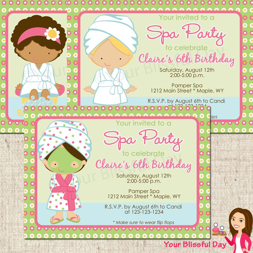 PRINTABLE Girl Spa Party Invitation (Character of your choice ...