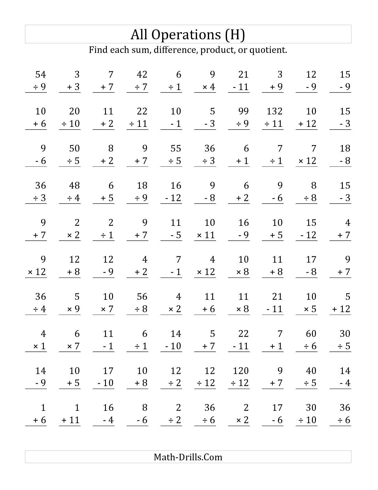 The All Operations With Facts From 1 To 12 H Math Worksheet From The Mixed Operations Wor Multiplication Facts Worksheets Math Fact Worksheets Multiplication