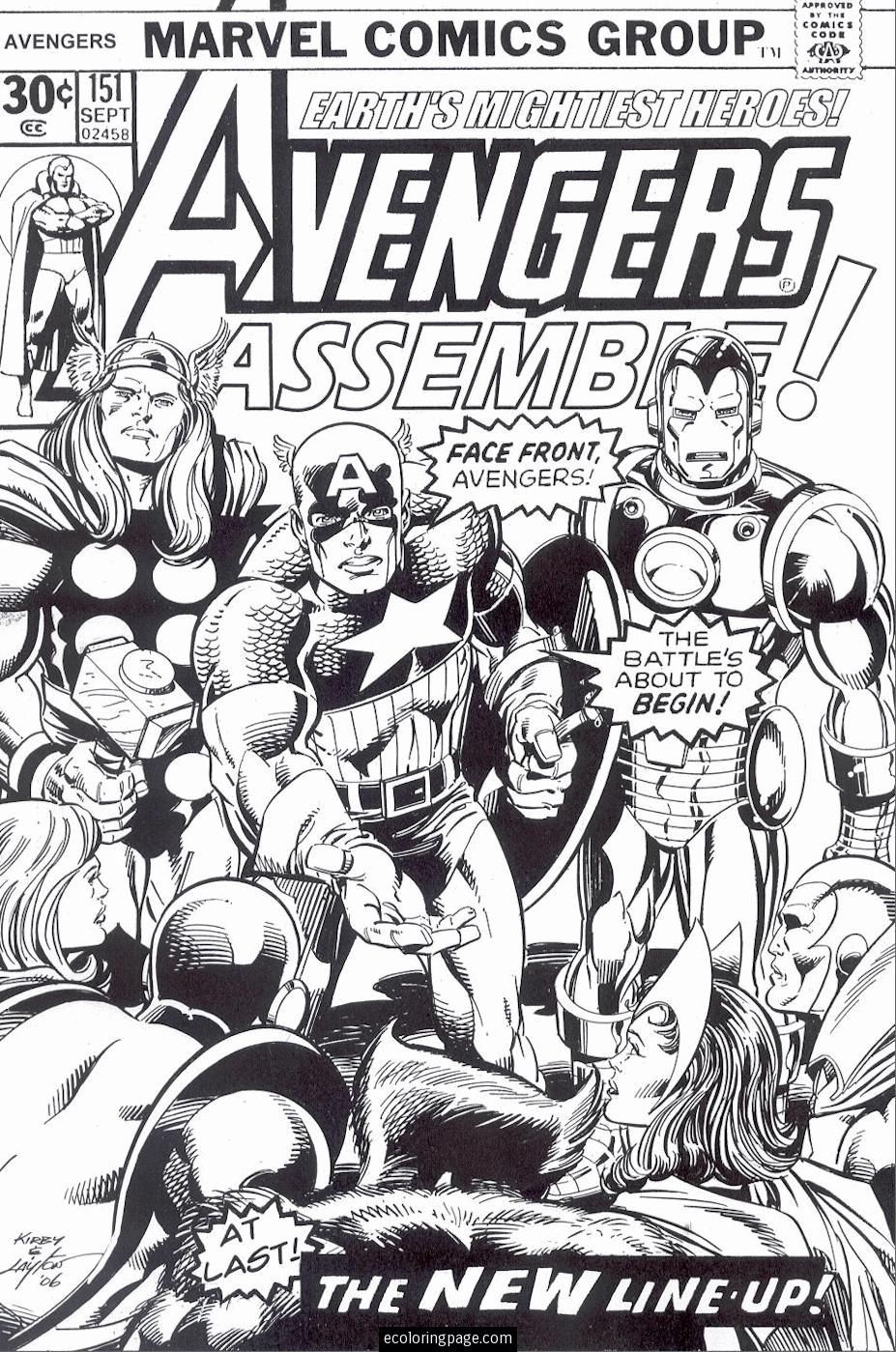 marvel superheroes avengers coloring page for kids printable