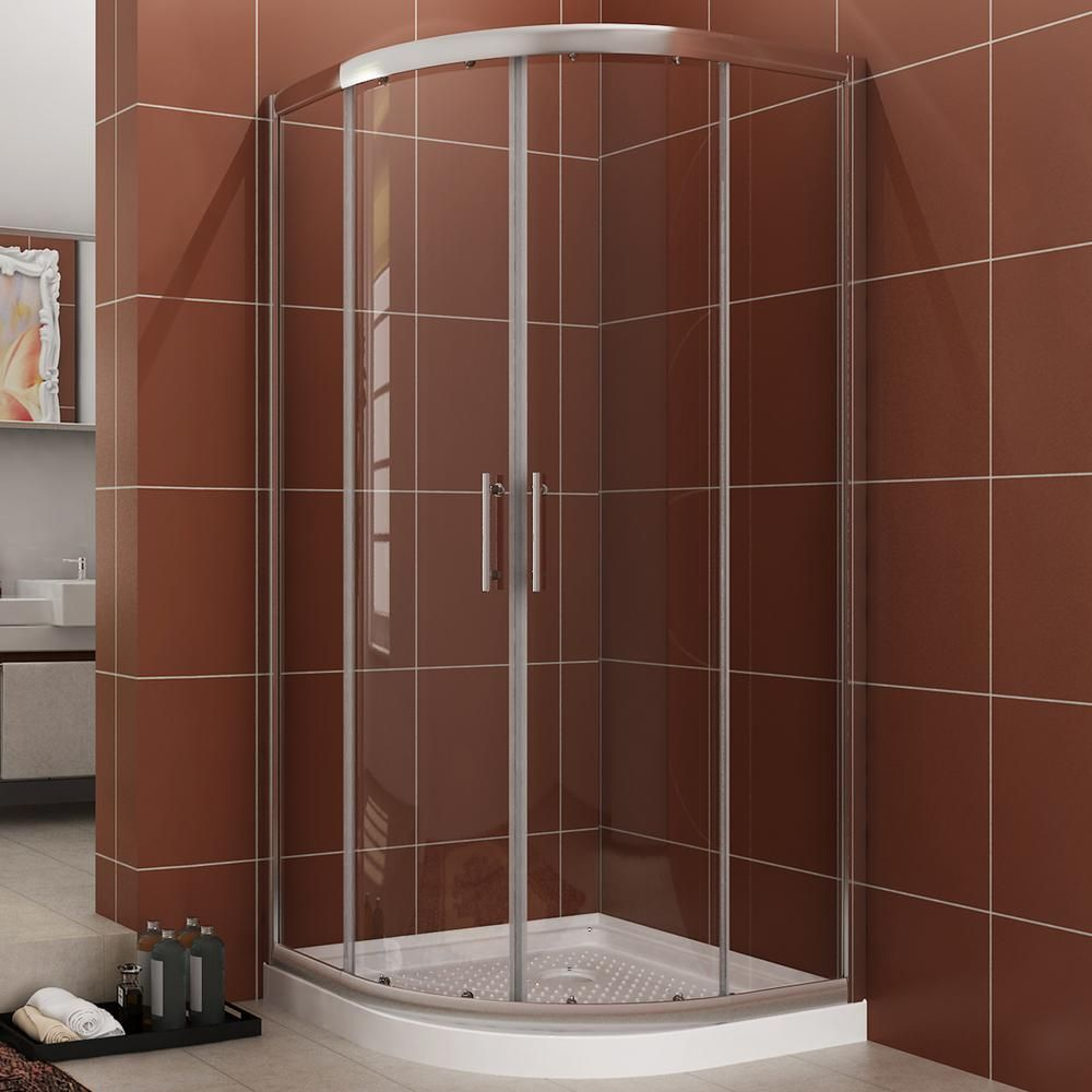 Boyel Living 36 In X 72 In Framed Double Sliding Shower Door Clear Glass In Chrome In 2020 Corner Shower Doors Shower Doors Frameless Sliding Shower Doors