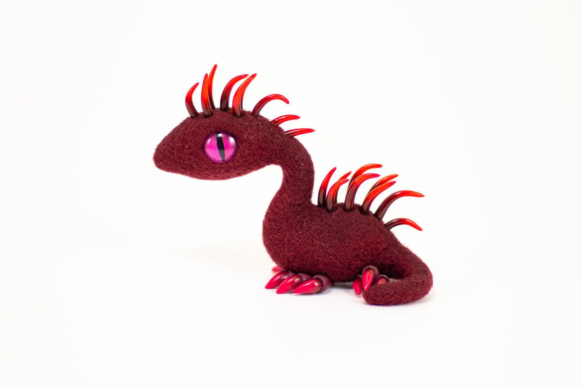 Felt dragon needle felted dragon polymer clay dragon wool dragon dinosaur clay sculpture gift Bordeaux Dragon