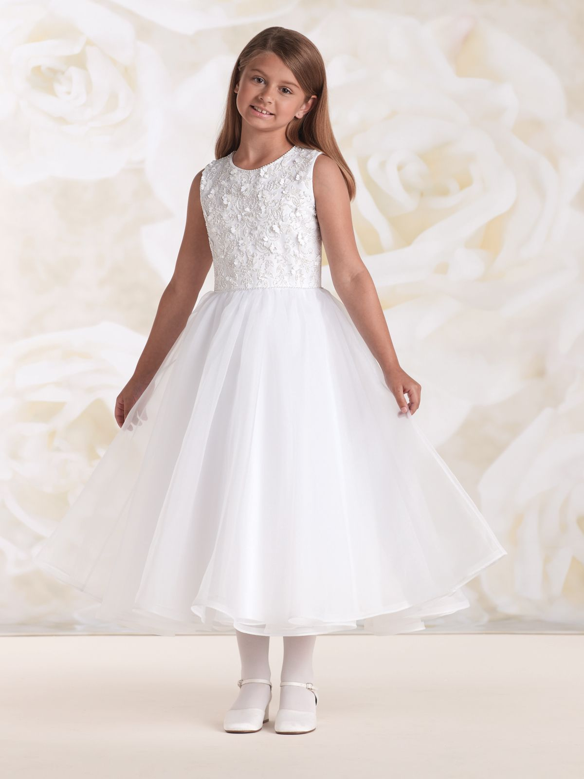 115305 Sleeveless Satin And Organza Tea Length A Line Dress With Delicately Hand Beaded J White Flower Girl Dresses Flower Girl Dresses First Communion Dresses [ 1600 x 1200 Pixel ]