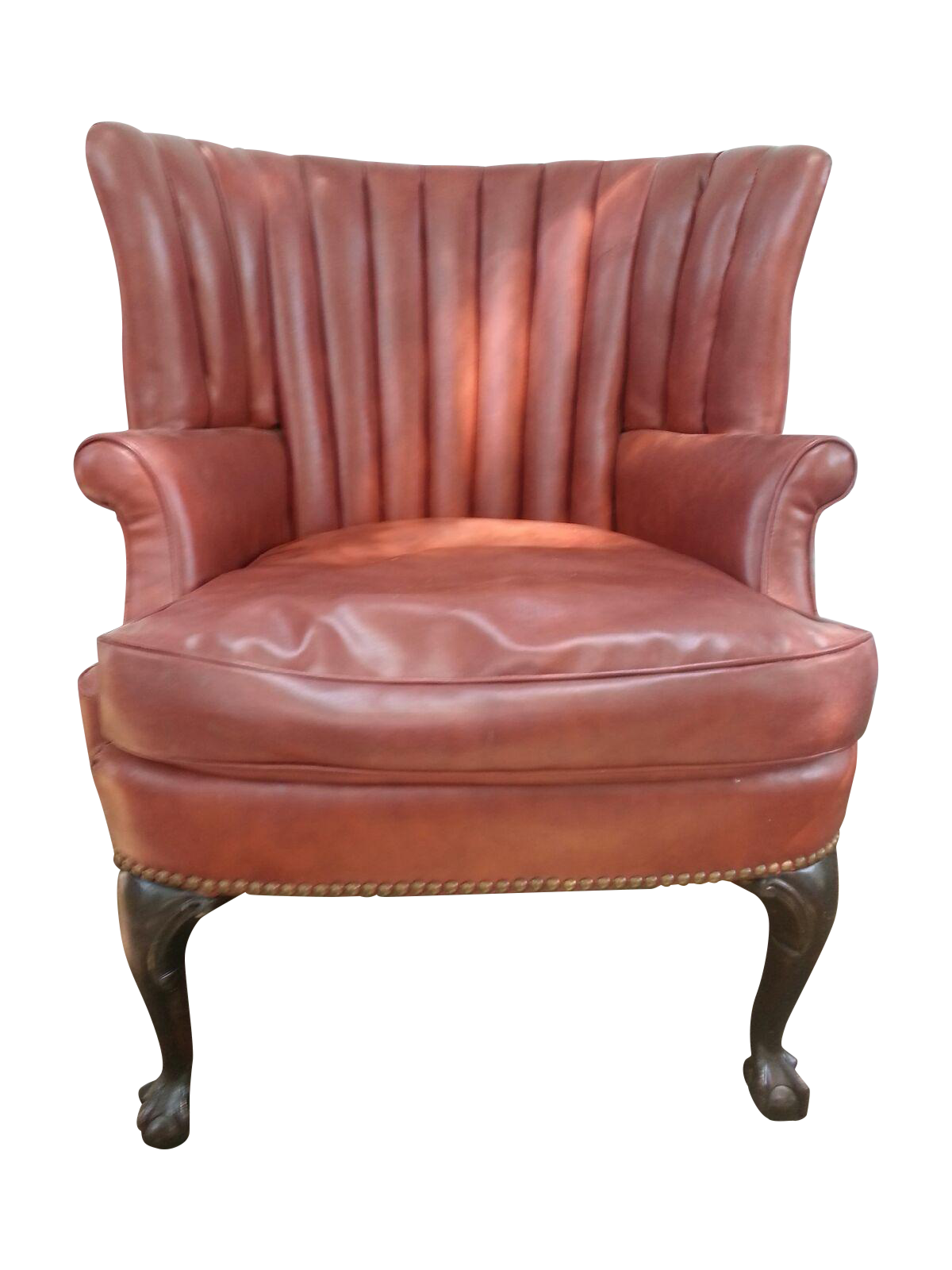 Great wing chair with ball and claw legs perfect for a small space arm height is 23 and seat height is 19 very comfortable sold