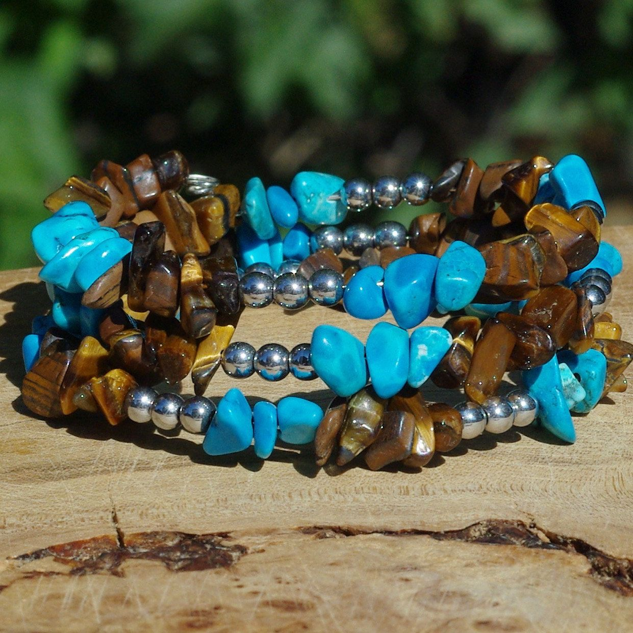 Turquoise And Tiger Eye Bracelet ~ Howlite Stones ~ Tiger Eye Stones ...