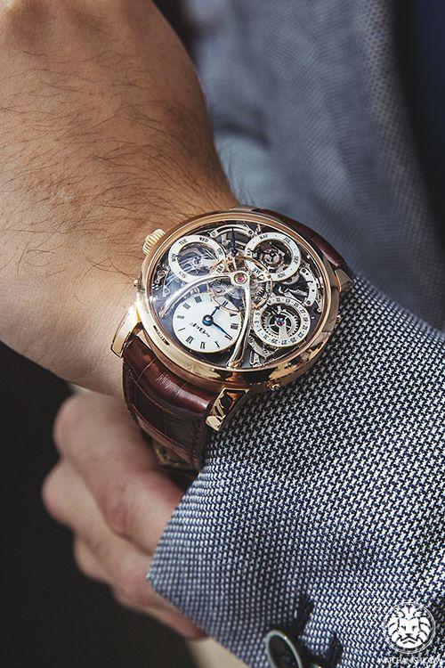 6406fabe532  BurgundyandGold Men s Mechanical Watch Skeleton Watches