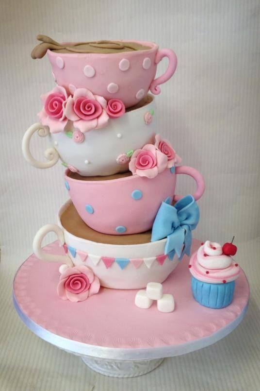 Balancing tea cups cake