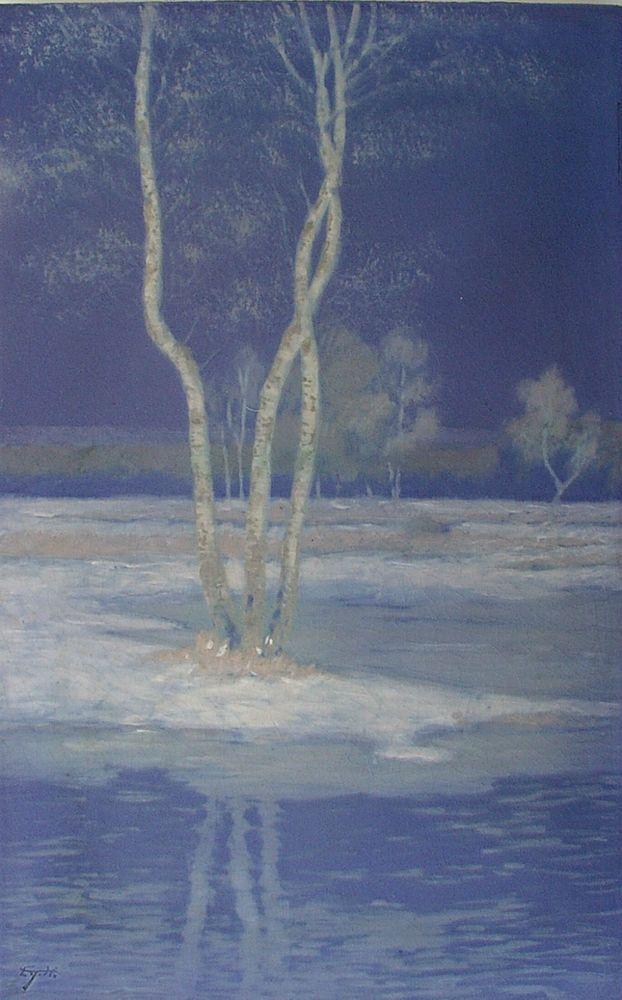 "1916 Edward T Hurley Rookwood Vellum Plaque 9&3/8"" X 14&3/4"" #Impressionism"