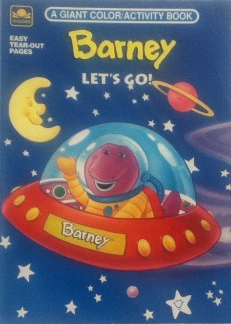 barney lets go unused coloring book golden books vintage - Barney Coloring Book