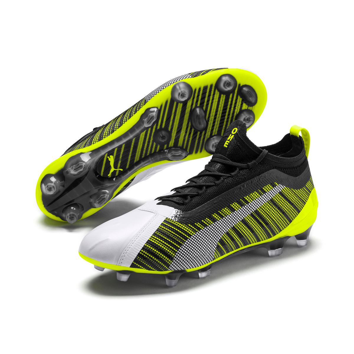 PUMA One 5.1 FG/AG Soccer Cleat White/Black/Yellow Alert-11 ...