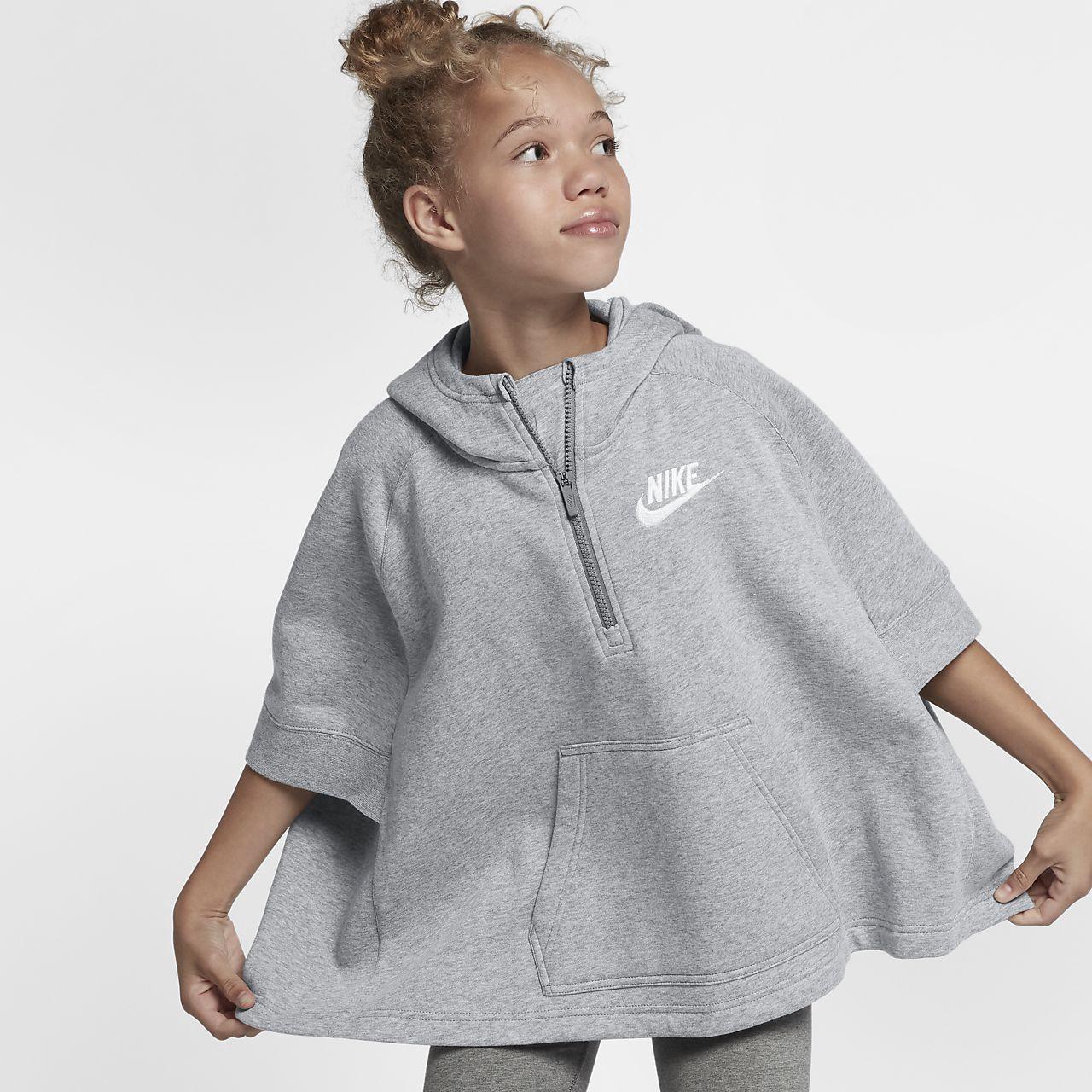 2307a9383fec Nike Sportswear Big Kids  (Girls ) Pullover Half-Zip Poncho - M (10-12) Grey