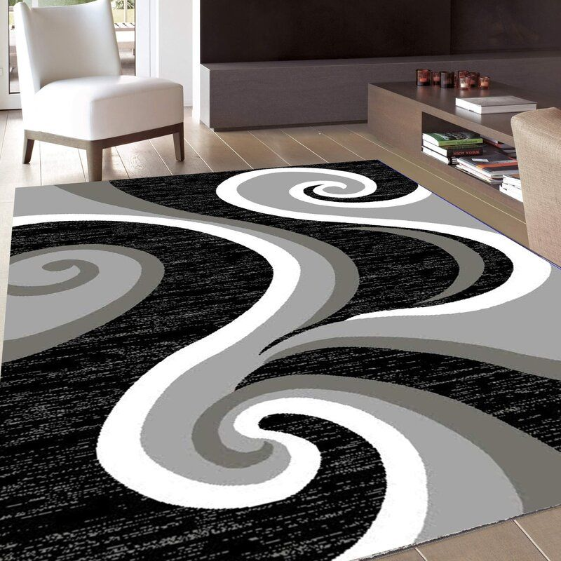 Ebern Designs Collingwood Gray White Black Area Rug Reviews Wayfair In 2020 Black Area Rugs Area Rugs Nice Area Rugs #nice #rug #for #living #room