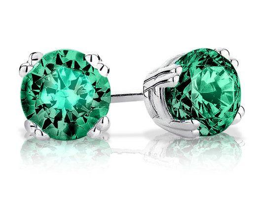 6mm Created Emerald Stud Earrings 1 0 Carat Ctw In Sterling Silver Metal Information