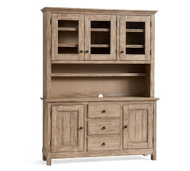 Benchwright Buffet Hutch Rustic Mahogany Stain Wood China