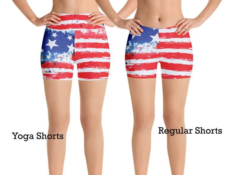 American Flag Capri Leggings for Women Stars Stripes 4th of July Running Pants