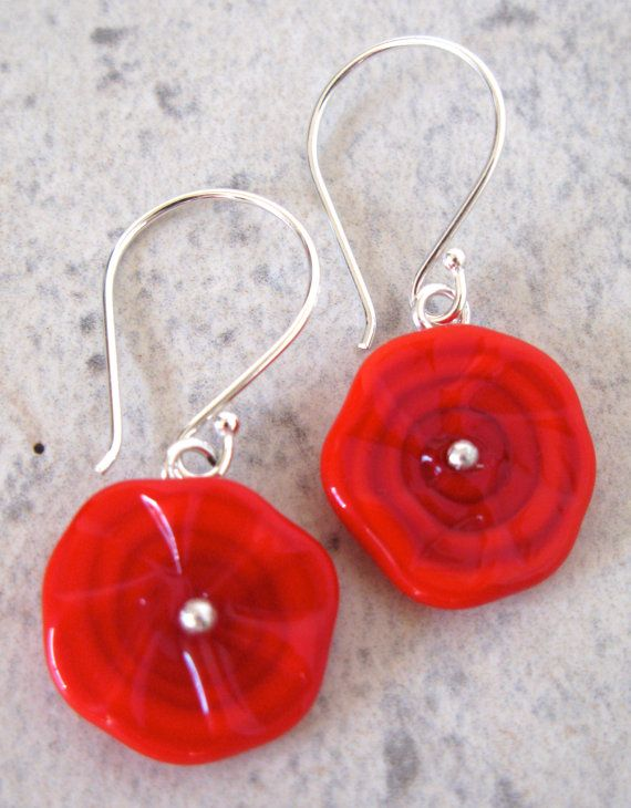 SALE  Funky Red Disk Earrings.  Handmade by AussieJulesOnline, $25.00