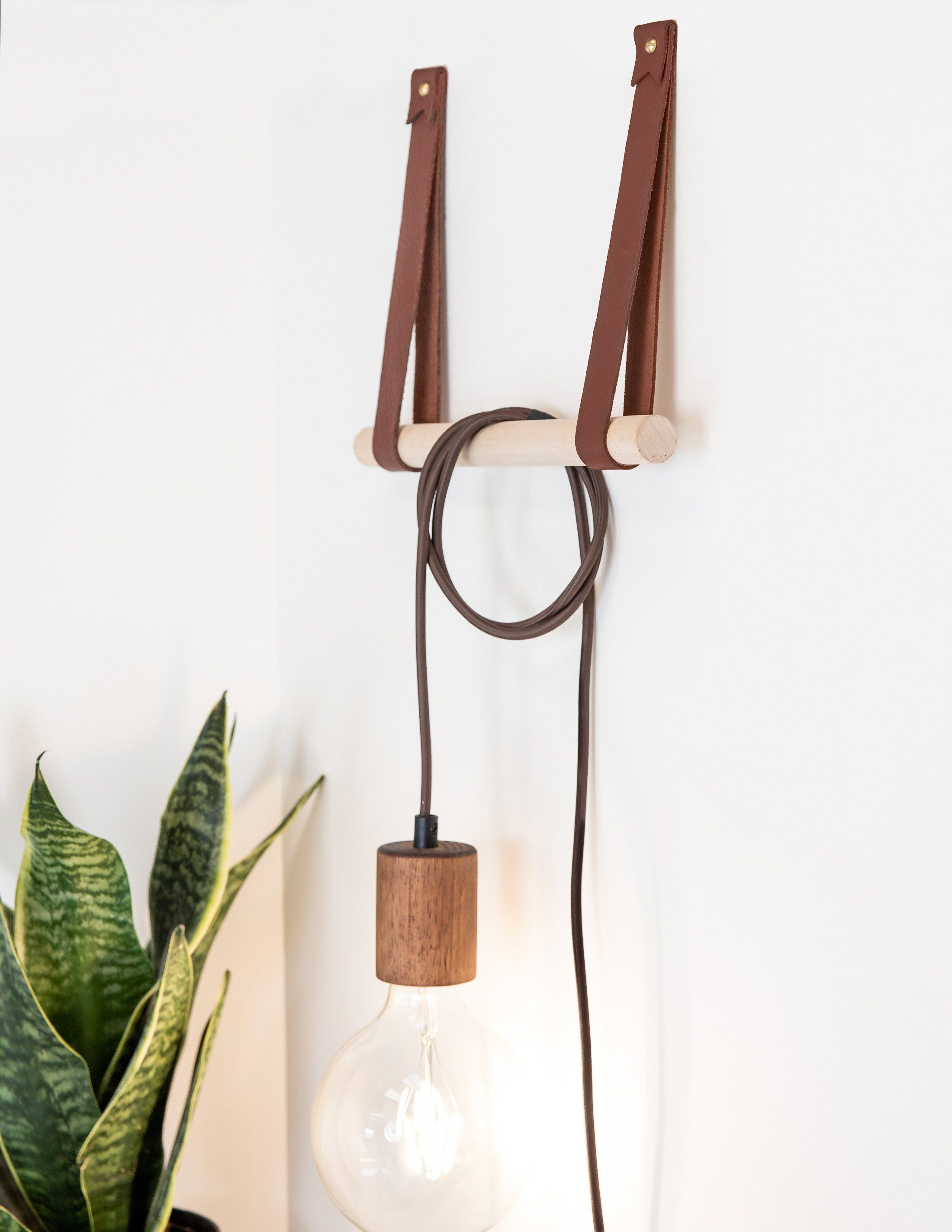 Photo of Large Leather Wall Strap [Flag End] – Wine / Steel