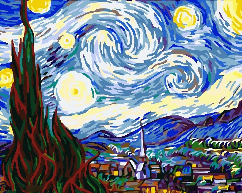 Картина по номерам «Звездная ночь» Ван Гога | Абстрактные ...