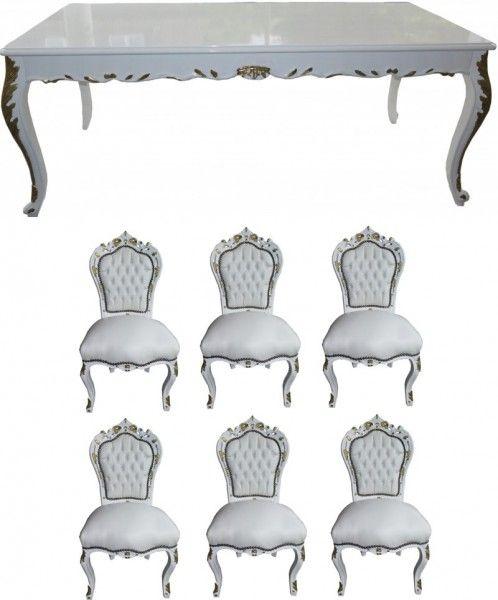 Casa Padrino Barock Esszimmer Set Weiss Weiss Gold Esstisch 6 Stuhle Mobel Antik Stil Esszimmer Set Esstisch Esszimmer