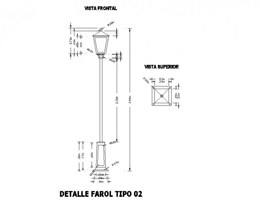 Electrical Lamp Post Detail Elevation And Plan 2d View Autocad File In 2020 Autocad Lamp Post How To Plan