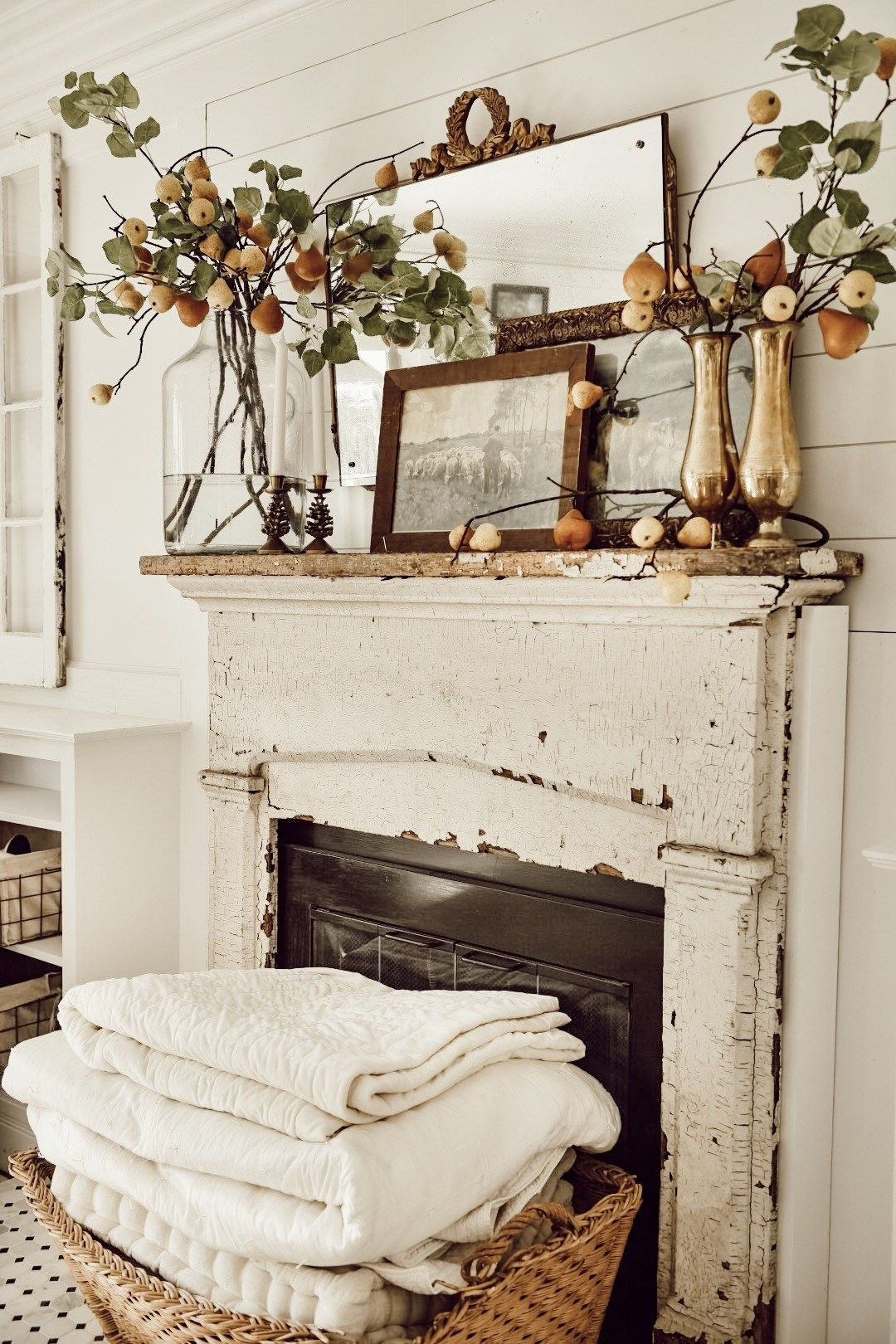 Eclectic Antique Fall Pear Mantel Chic Home Decor Farm House Living Room Decor