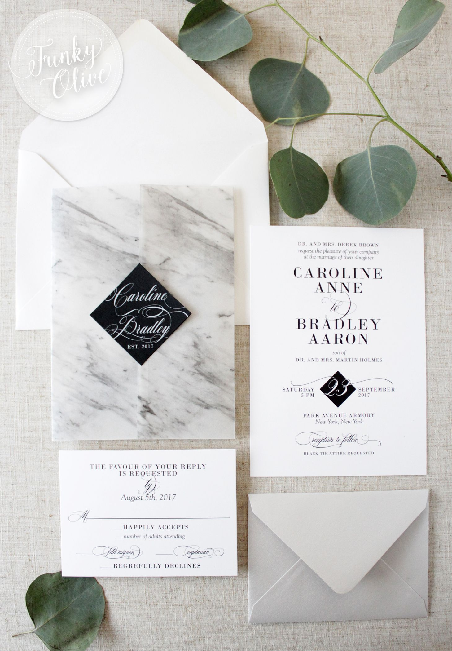 Wedding Invitation Packages.Modern Marble Vellum Wrap Invitation Suite In 2019 Wedding Black