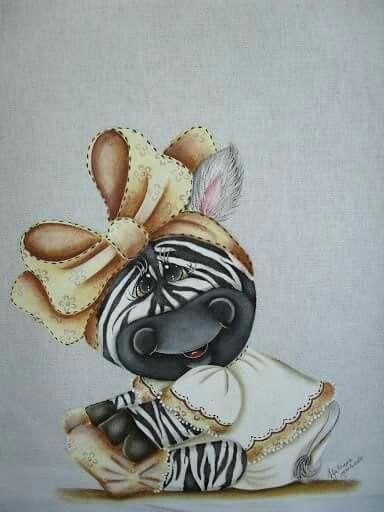 Zebrinha Com Imagens Pinturas Em Tecido Fraldas Pinturas De