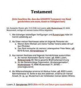 Testament Muster Vorlage Dokumente