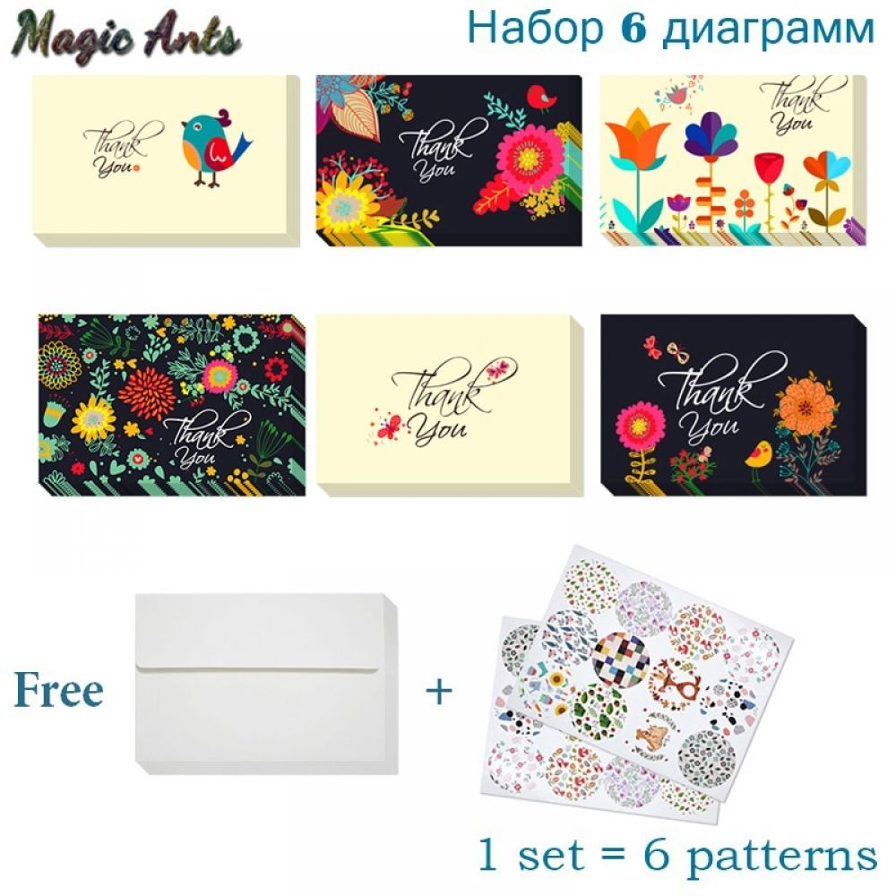 6pcs floral thank you card black with envelope sticker