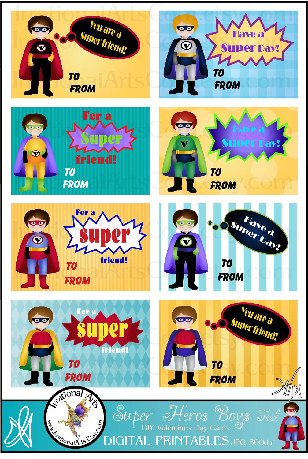 Valentines Day Cards for kids exchange SUPER HERO BOYS Teal – Boy Valentines Day Cards