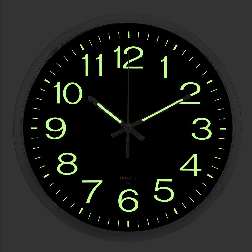 Wall Clock Glow In The Dark Silent Quartz Indoor Outdoor Luminous Decor 12 Us 20 86 Wall Clock Silent Wall Clock Glow In The Dark Large Digital Wall Clock
