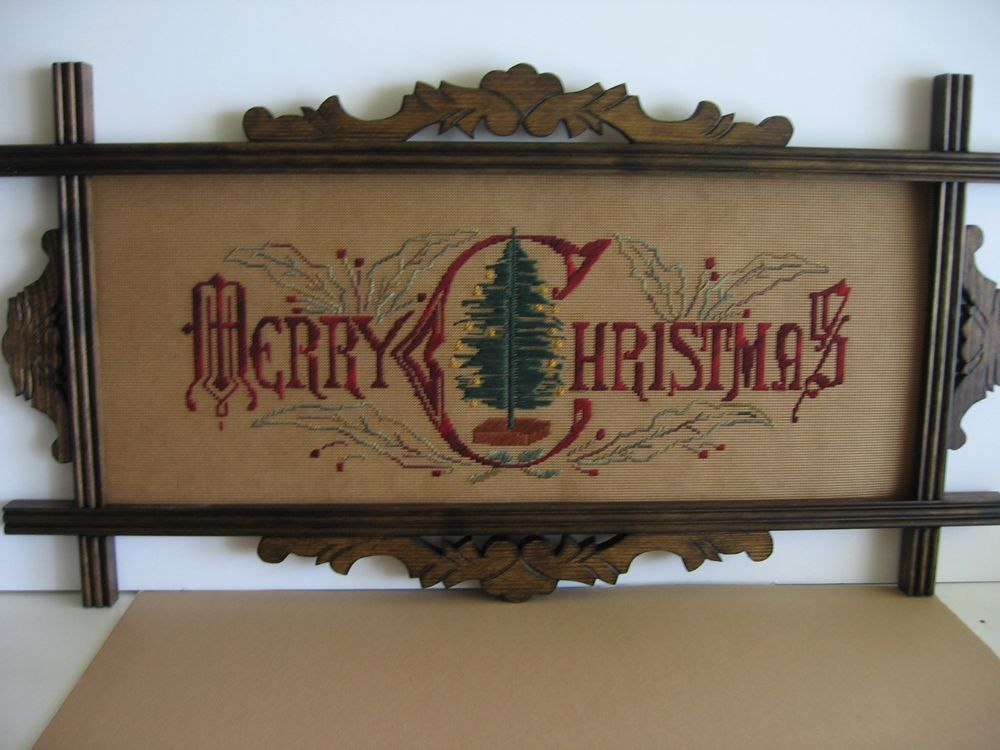 New antique style,stitched, Merry Christmas motto sampler in ...