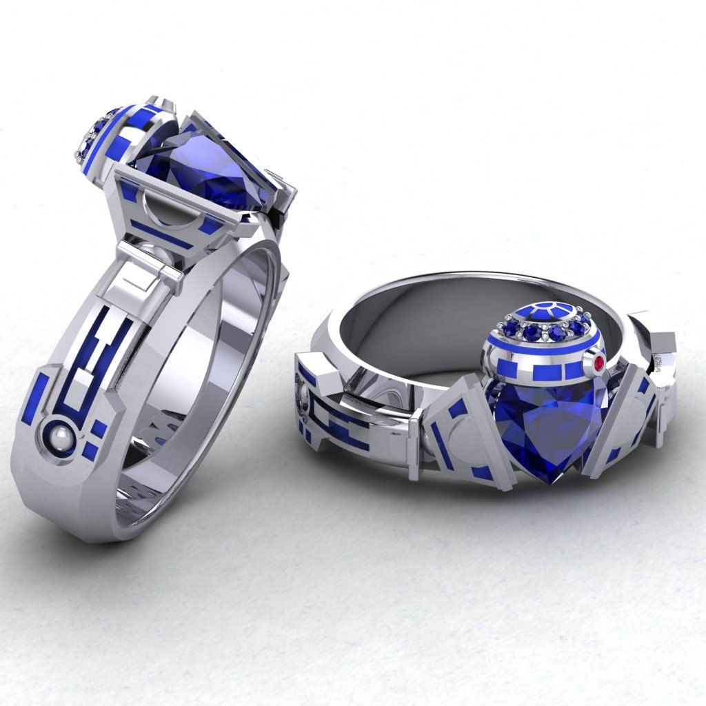 Gents R2 Claddagh Ring Geek Jewelry R2d2 Ring Paul Michael Designs Blue  Scifi Wedding Bands