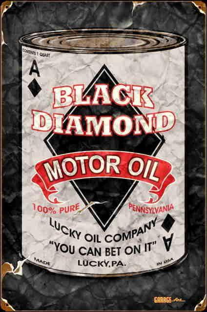 antique gas items | Black Diamond Motor Oil Vintage Sign