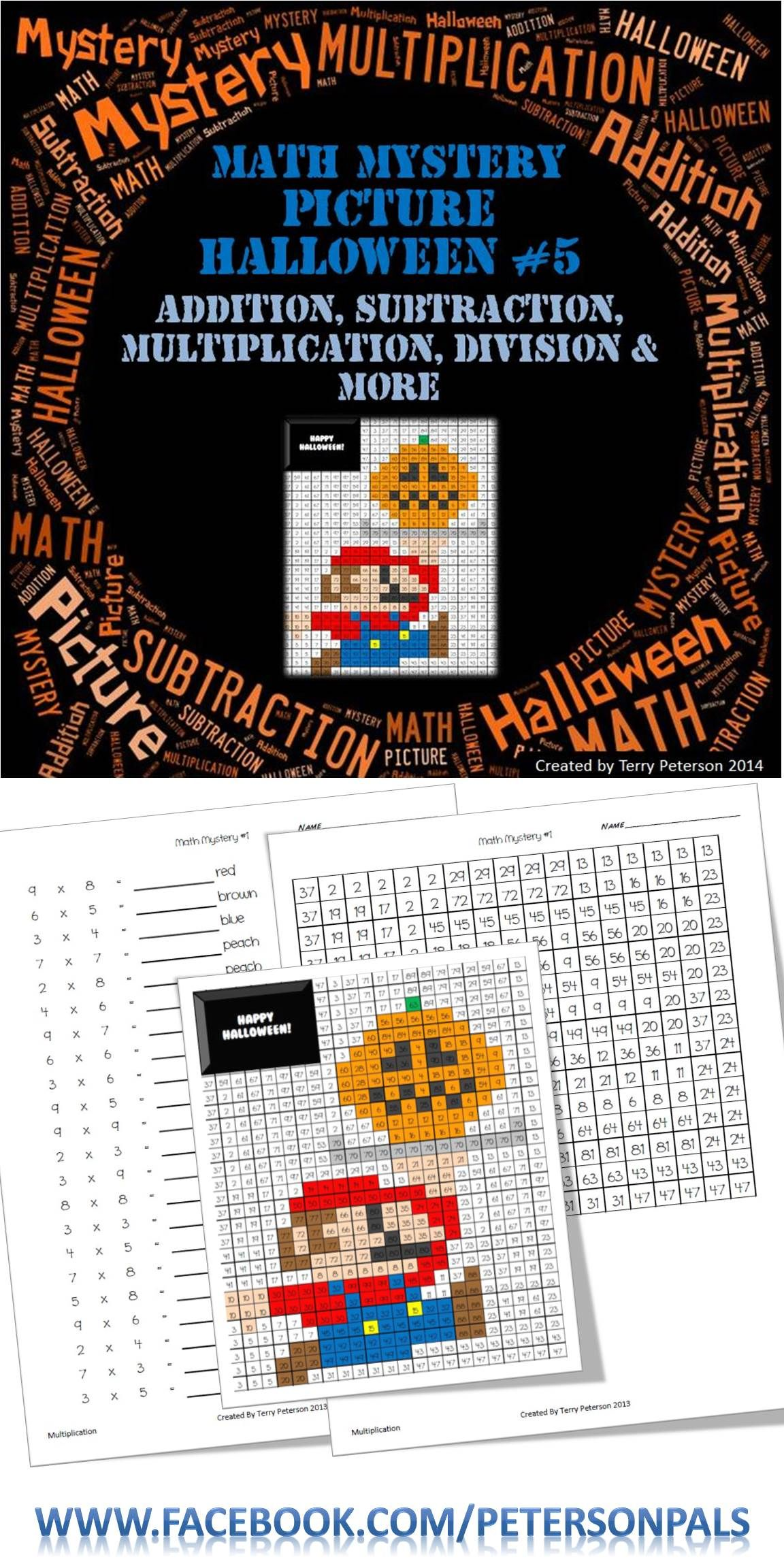 Math Mystery Picture Halloween Addition Subtraction Multiplication Division